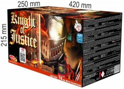 Kompaktní ohňostroj KNIGHT OF JUSTICE 78 ran 20/25/30/40mm